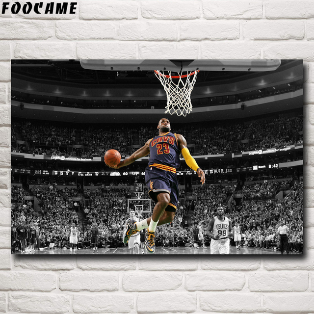 FOOCAME Basketball Star Lebron James Art Silk Posters and Prints Decor Painting Bedroom Decorative Wall Pictures For Living Room