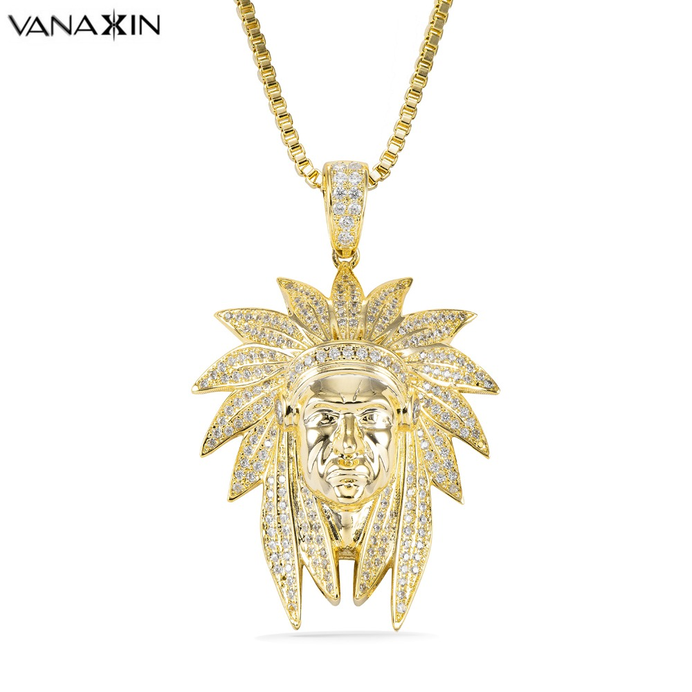 VANAXIN Rock Hip Hop Jewelry Men Necklaces Pendants Paved CZ Necklace for Male Vintage Jewelry Gold