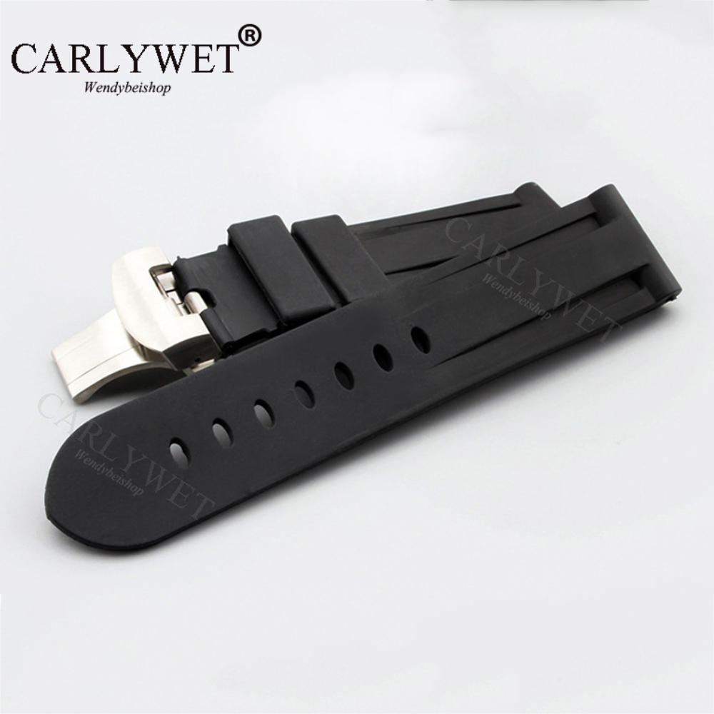 CARLYWET 24mm Black Waterproof Silicone Rubber Replacement Wrist Watch Band Strap with Silver Black Clasp For Panerai Luminor carlywet 24mm hot sell newest camo waterproof silicone rubber replacement wrist watch band strap belt for panerai luminor