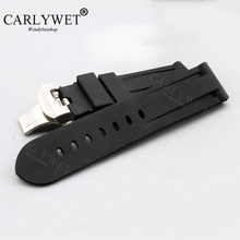 купить CARLYWET 24mm Wholesale Black Waterproof Silicone Rubber Replacement Wrist Watch Band Strap with Classic Silver Black Clasp  по цене 932.03 рублей