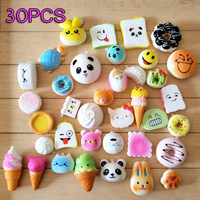 30 Stks Sleutel Tas Ornamenten Mini Leuke Panda/Brood/Cake/Donuts Opknoping Strap Kind Kids Gift Speelgoed Feestartikelen (Willekeurige Levering)