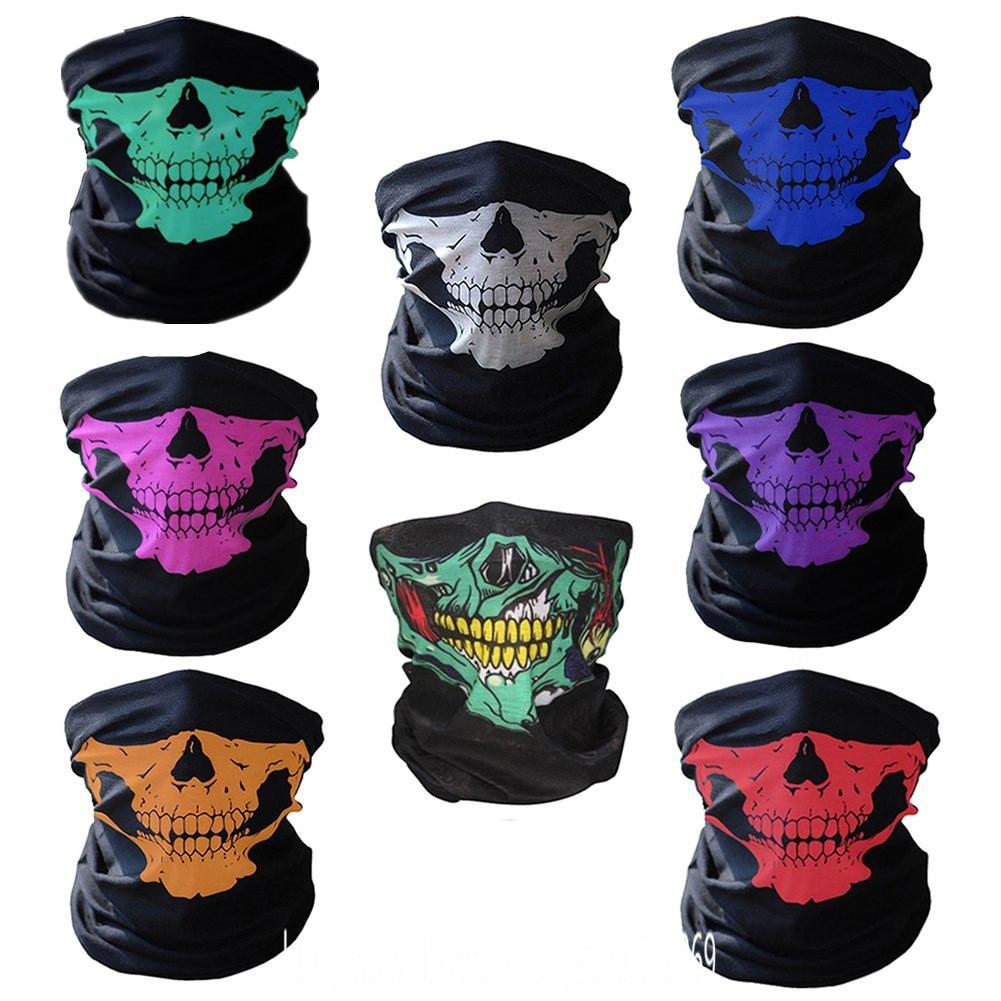 Skull Printed Men Women Magic Scarf Polyester Scarves Motorcycle Climbing Bandanas Headwear Tubular Bandana Cap Tube Face Mask