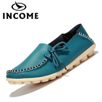 INCOME Split Leather Women Flats Shoes Female Casual Shoes Loafers Slip On Soft Leather Black Casual