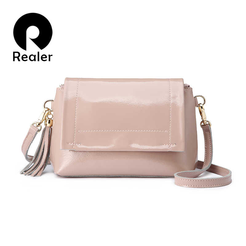 REALER messenger bag women fashion crossbody bags for women patent leather ladies hand bags brand Female Pink Green high quality