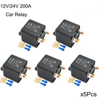 5/Set 12V 24V 200A Car Relay Truck Motor Automotive Relay Continuous Type Split Charge Car Starter+2 Pin Footprint+2 Terminal