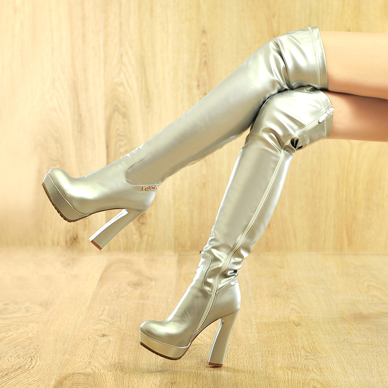 b16d4d4d1 New Hot Fashion Sexy gold silver Pole dancing boots platforms Over the Knee  high boots thick high heel Patent leather knee boots-in Over-the-Knee Boots  from ...