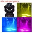 Nova 60 w gobos spot led luz em movimento da cabeça 7 cores differnt 7 fase manchas boa luz para ktv casamento