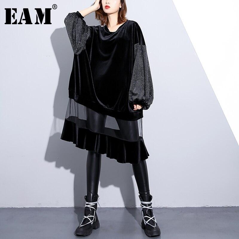 EAM 2019 New Spring Winter Round Neck Long Sleeve Black Loose Hem Mesh Dot Printed