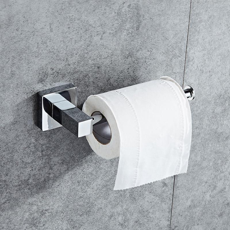 SRJ Bathroom Hardware Accessories 304 Stainless Steel Toilet Paper Holder Towel Rack Bathroom Toilet Roll Paper