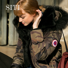 Thick Ultra Warm Women Winter Jacket Hooded Down Parka Camouflage Coat Overcoat Loose Style Jacket long parka with raccoon fur