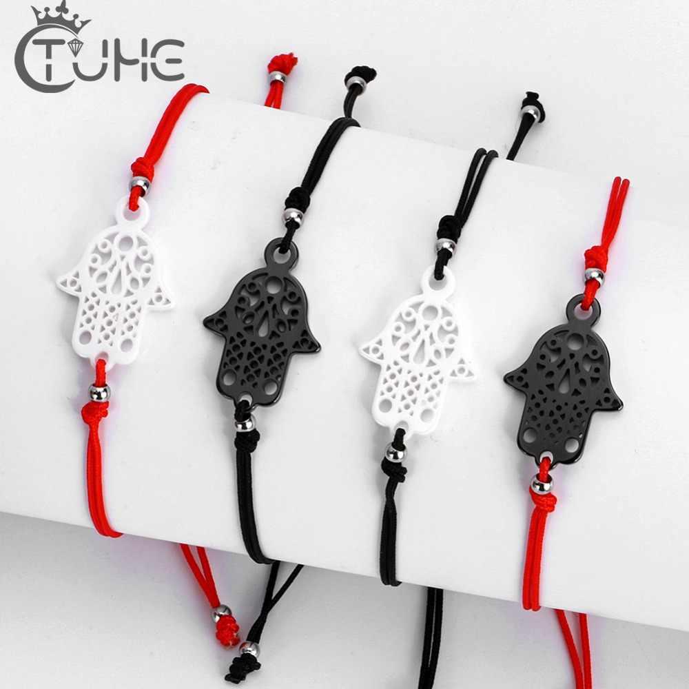 Tybetański buddyjski Lucky kabała czerwony sznurek Hamsa bransoletki czarny biały ceramiczny urok kobiety Handmade Fatima biżuteria przyjaźni