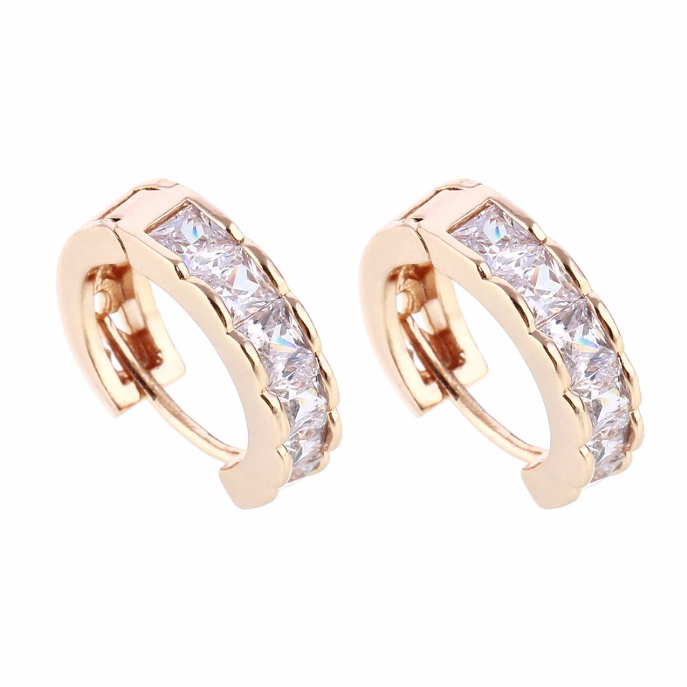 Stylish Hoop Earrings Rose Gold & Silver Colors Zircon Earring Full Crystal  Brincos Wedding Party Birthday