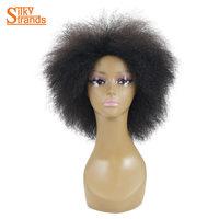 Hilos sedosos Corto Afro Rizado Peluca Rizada Para Las Mujeres Negras Pelucas Sintéticas de Kanekalon Mujeres Afroamericanas Pelucas 6 pulgadas 100g