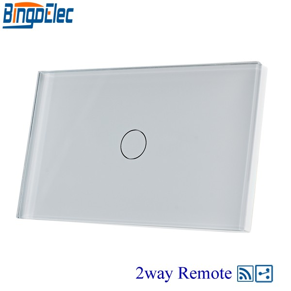 AU/US Standard Bingoelec 1gang 2way Wireless Remote Light Switch,White Glass Panel,AC110-240V,433.92mhz,Hot Sale