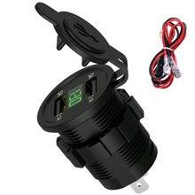 DC 12 V автомобильное зарядное устройство для мотоцикла светодиодный дисплей двойной USB зарядное устройство гнездо адаптера Питание выход