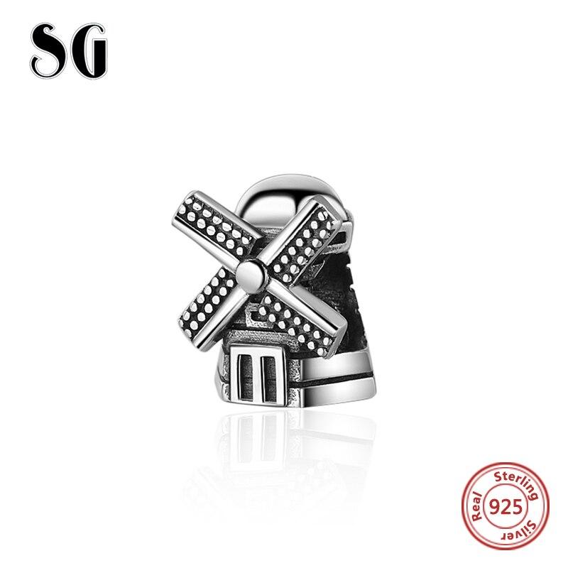 925 Sterling Argent personnalisé L'oxydation moulin à vent Charmes perles Fit original bracelet européen bijoux tendance faisant des Cadeaux