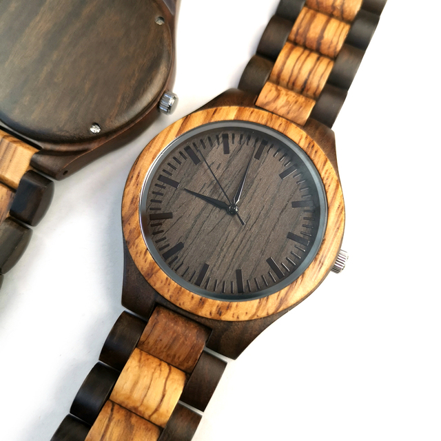 To My Boyfriend The Day I Met You I Found My Missing Piece ENGRAVED WOODEN WATCH 1