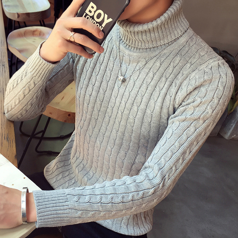 HO 2019 Men's Winter New Turtleneck Tide Twist Sweater Thickening Character Sweater