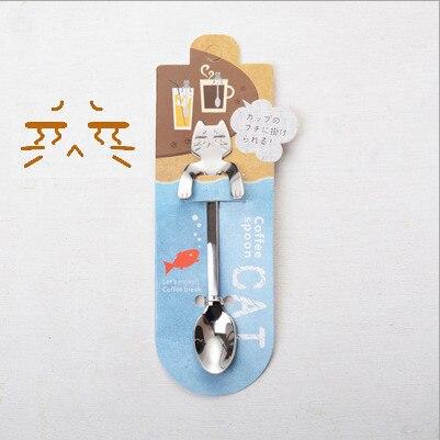 Кофейная и чайная ложка мини-кошка с длинной ручкой креативная ложка для питья пищевая кухонная посуда из нержавеющей стали - Цвет: Cry