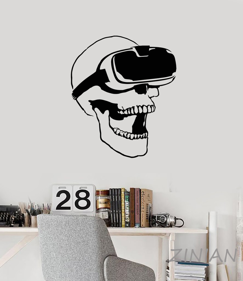 Skull VR Headset Virtual Reality Gamer Video Game Wall Stickers