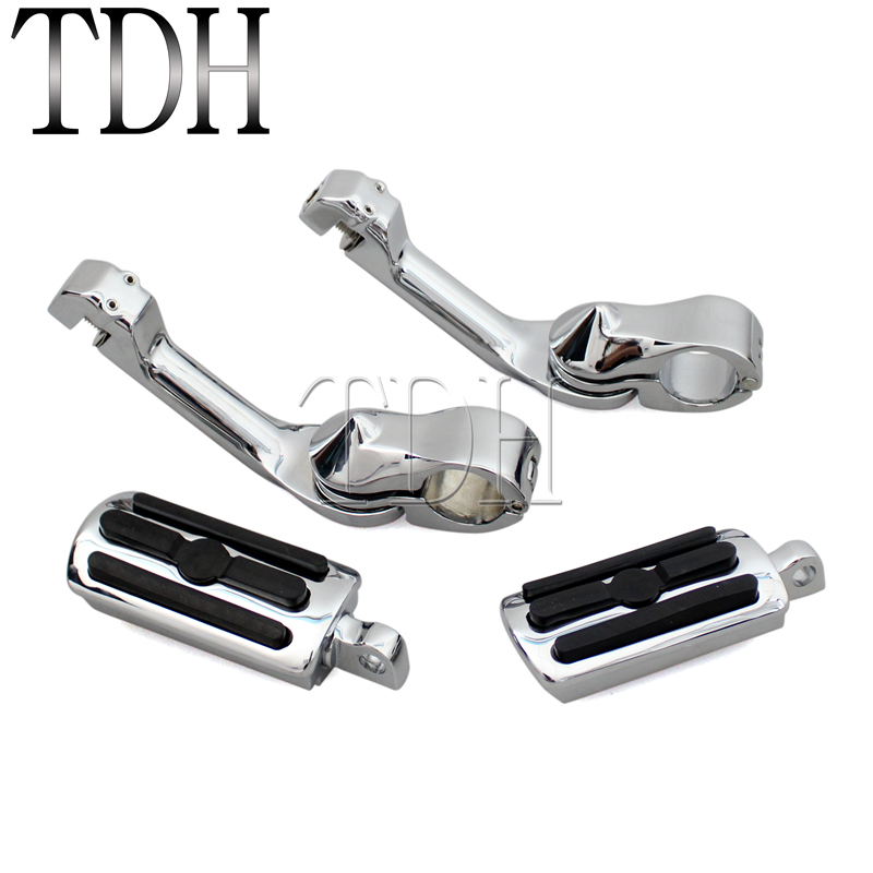 Motorcycle Long Adjustable Highway Pegs Engine Guard Foot Pegs Footrest For Harley Sportster Softail Electra Glide