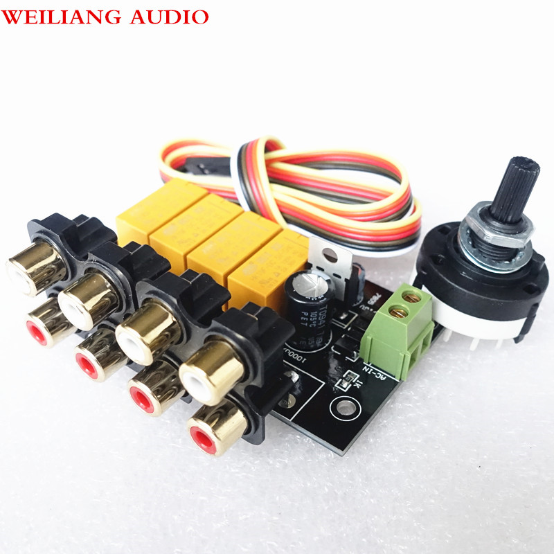 Weiliang Audio 4 Select 1 Audio Input signal Selector Relay Board for amplifier pre amp