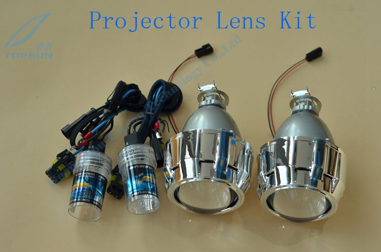 GZTOPHID Retrofit headlight kit including 35w H1 xenon bulbs and 2.5 inch Leader WST Bixenon Projector lens with Mini shroud