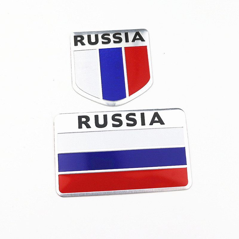 Aluminum Alloy Russian Federation National Flags Car Body Stickers Automobiles Motorcycles Exterior Decorating Accessories