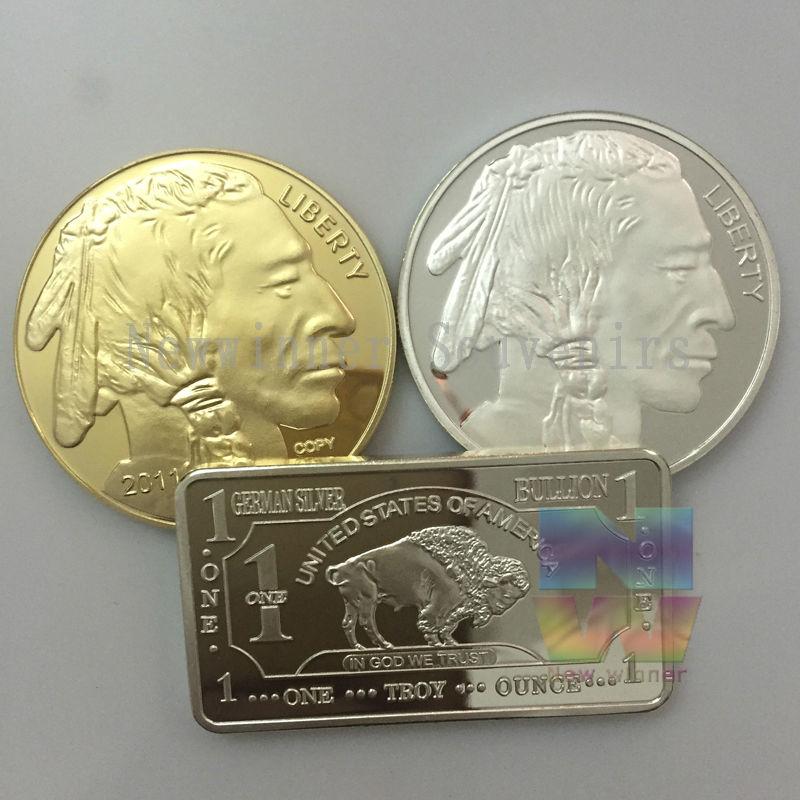 3 pcsensemble Américain Indian Head Argent et Pièces D'or Buffalo Argent Plaqué
