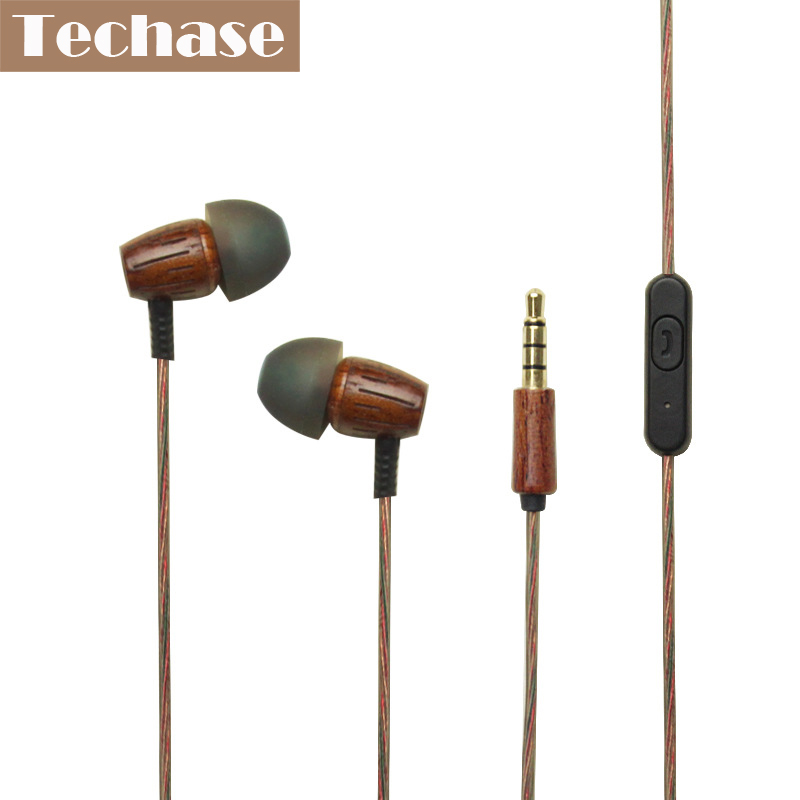 Techase Wooden In-ear Earphone Stereo Sound MP3 Music Auriculares With Mic Support Phone Calls Wired Control For Xiaomi Huawei em290 copper wire earphone in ear with mic clear 3d sound quality handsfree call for android ios smartphone oppo xiaomi mp3 pc