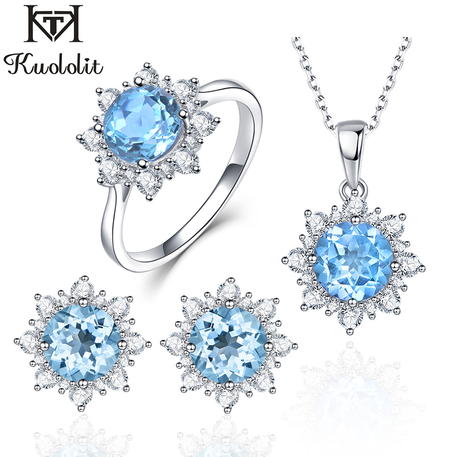 Kuololit Natural Blue Topaz Gemstone Jewelry Set for Women Solid 925 Sterling Silver Rings Earrings Pendants