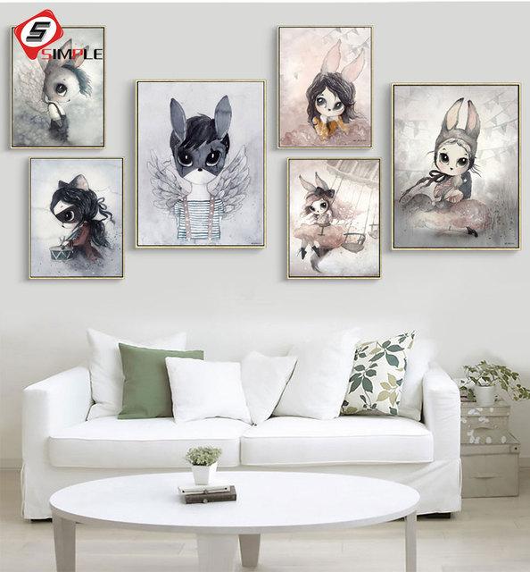 Nordic Wall Art Canvas Painting Cartoon Rabbit Print Posters And Prints Nursery