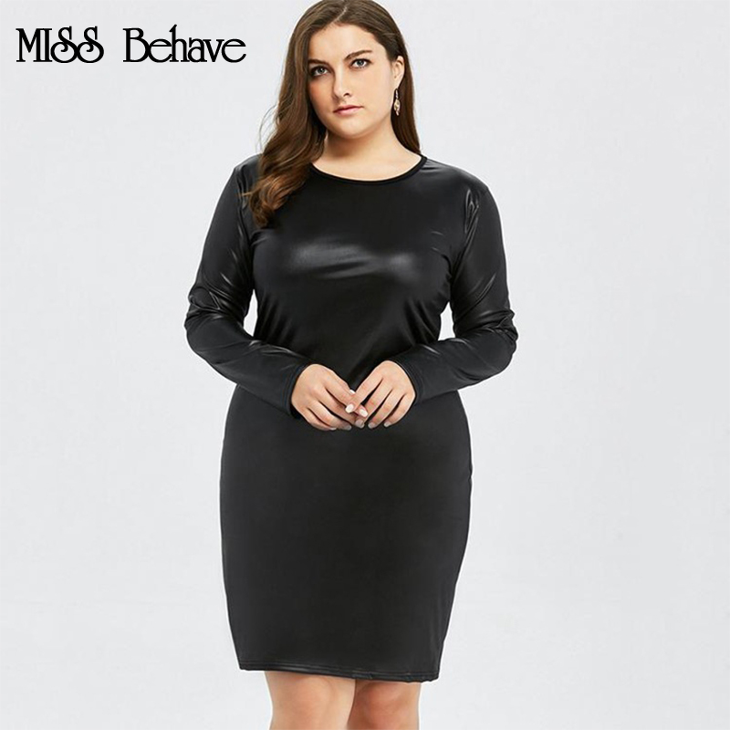 MISS Behave Hot Sale Women Fashion Leather Dress Women Plus Size Solid Autumn PU Dress Long Sleeve Mini Dress Sexy Black A-Line