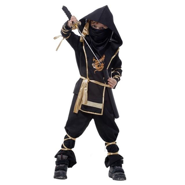 Crianças Menino Super bonito Crianças preto ninja guerreiro Jogo Roupas Desempenho trajes de Festa de Natal Das Bruxas