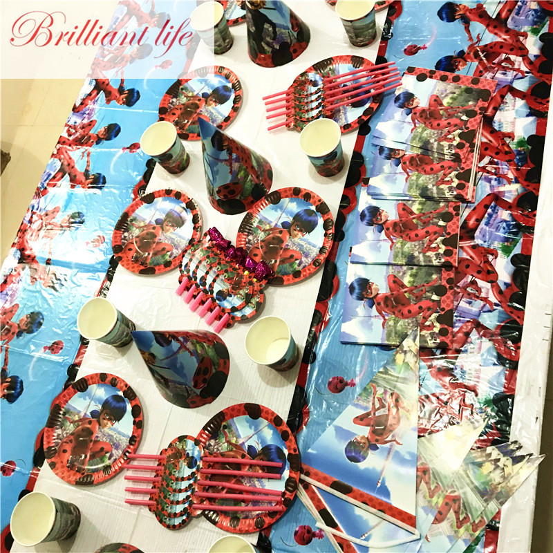 Tableware Supply Miraculous Ladybug Theme 119pcs Wedding Kid Birthday Party Paper Cup+Plate+Blowout+Cap Christmas Banner Provid