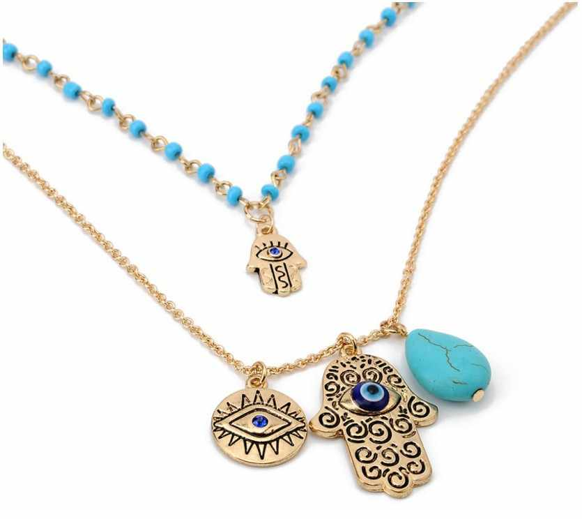 Bohemia Double Layer Bead Necklace Chain Turkey Blue Evil Eye With Hamsa Hand Fatima Palm Necklace For Women Fatima T