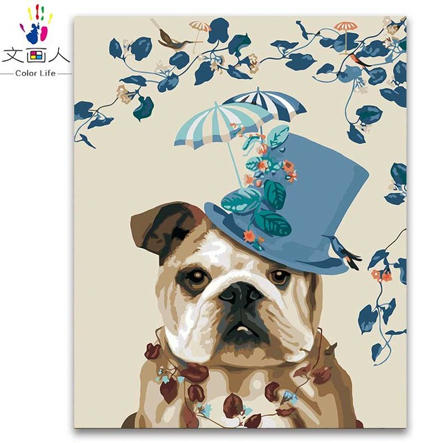 Coloring by numbers hat Chapus dog animals paintings by numbers ...