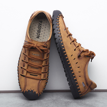 2019 Summer Comfortable Men Casual Shoes Loafers Men Shoes Quality Split Leather Shoes Men Flats Moccasins Shoes Big Size 38-48