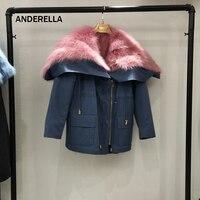 ANDERELLA Fashion women's natural fox fur collar hooded real fox fur lining winter jacket coat long/short parkas outwear
