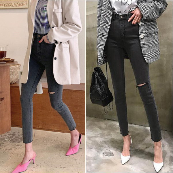 Summer New Women Dark Grey Jeans Ripped Hole Jeans Leggings Elastic Denim Ankle Pants Skinny Pencil Pants For Women