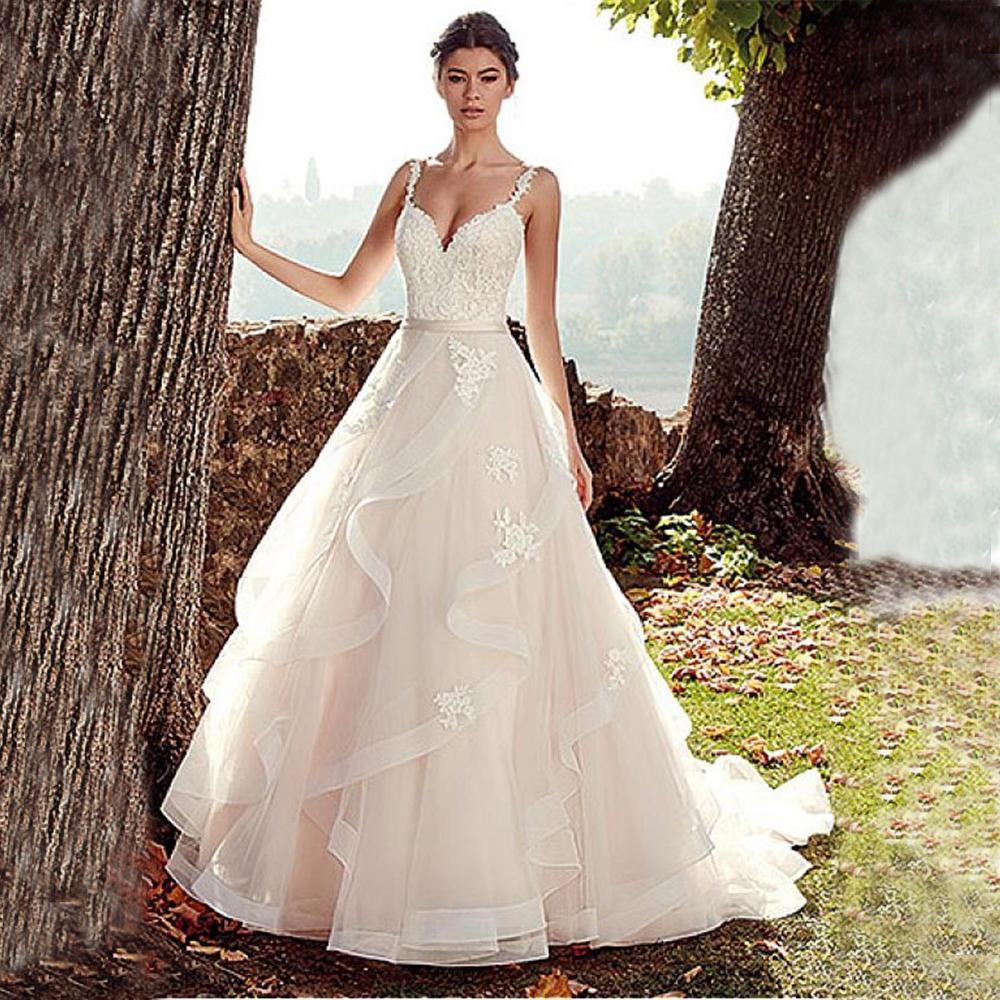 V Neck Wedding Dress Vestido De Noiva Spaghetti Straps With Ruffles Wedding Gowns Backless Bridal Dress 2019