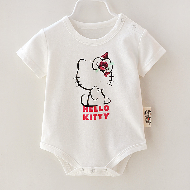 New Baby Clothes Infant Cotton Bodysuit 0-9M Kids Clothes Summer&Autumn Short Sleeve Cartoon Cat Character Printed Baby Jumpsuit