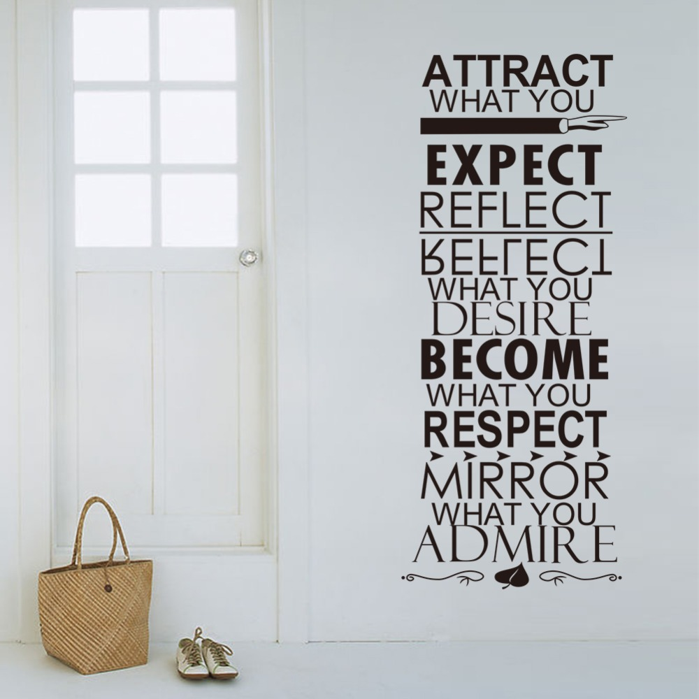 2015 Sale Diy Wall Decor Attract What You Expect Reflect Desire Become  Respect Mirror Admire Quotes Wall Art Letters Vinyl Words  In Wall Stickers  From Home ... Part 55