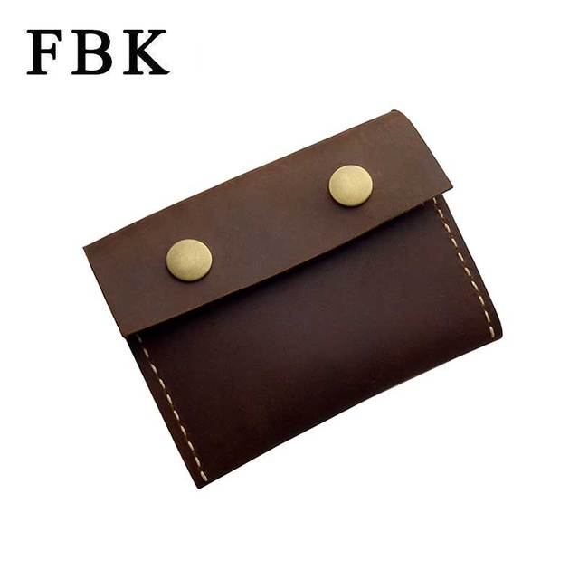 FBK Crazy Horse Leather Craft Handmade Fashion Vintage Classic Large Capacity Coin Purse Change Wallet Business Card Holders