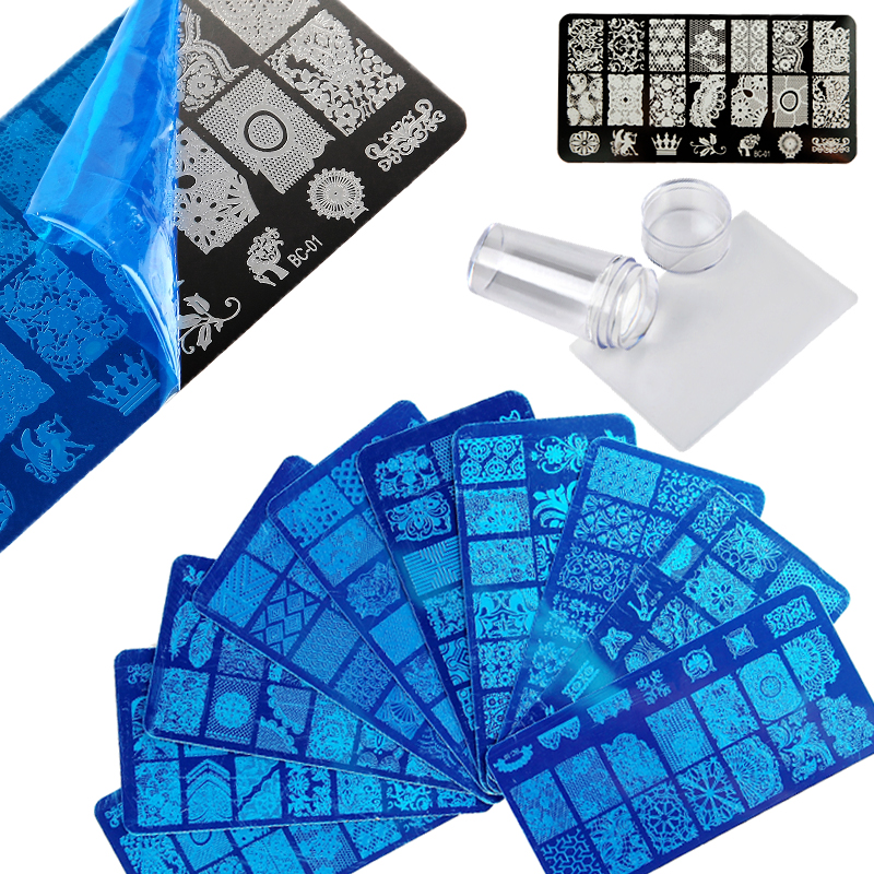 ROSALIND Flower 3D DIY Polish Nail stamping plates Stamper Scraper with Cap Stamping Template Nail manicure Stamp for nails Art 8 pcs nail art sponges stamping polish template transfer manicure diy tool