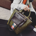 2017 New Winter Stone Contrast Color Bucket Bag Vintage Fashion Casual Tote Handbag Embossed ladies Weave Crossbody Shoulder Bag