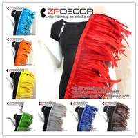 ZPDECOR Wholesale 1yard/ 30 35CM(12 14inch) Dyed Colorful Chicken Coque Feather Fringe Trim for Carnival Costume Decoration
