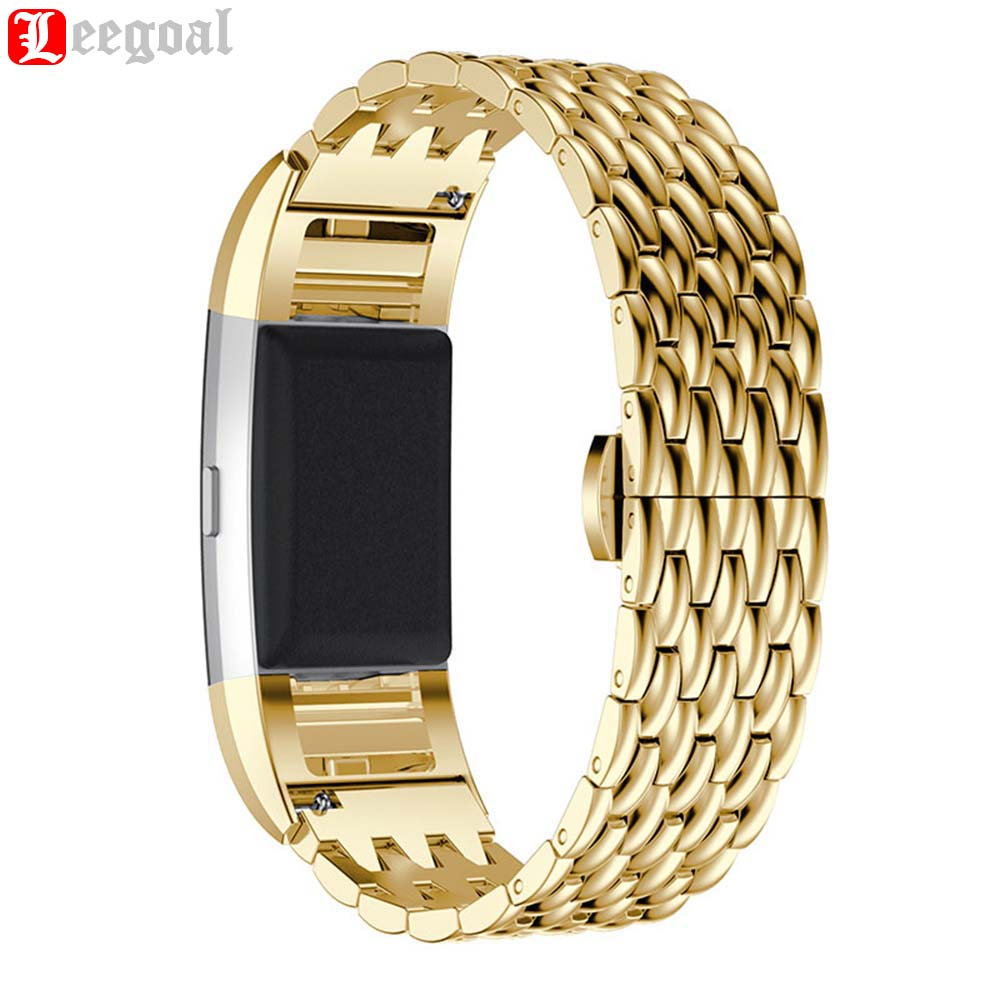 rose gold metal band for fitbit charge 2 stainless steel wristband strap replacement genuine. Black Bedroom Furniture Sets. Home Design Ideas