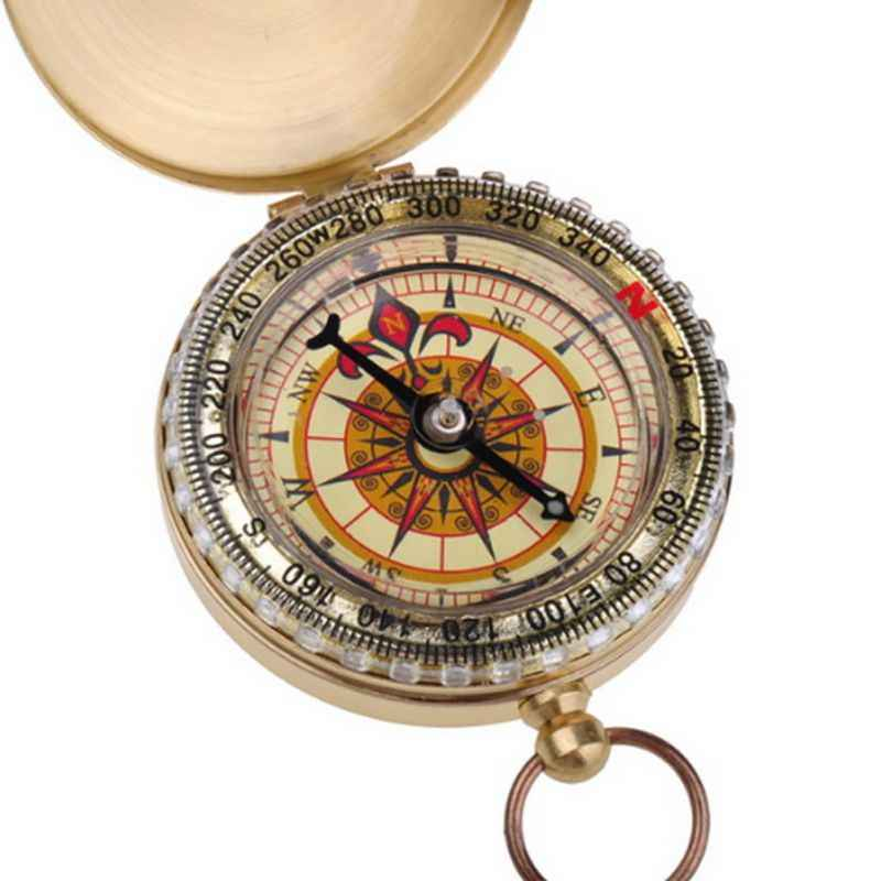 Outdoor Portable Brass Pocket Golden Compass Navigation Camping Hiking Double Display Compass Navigation