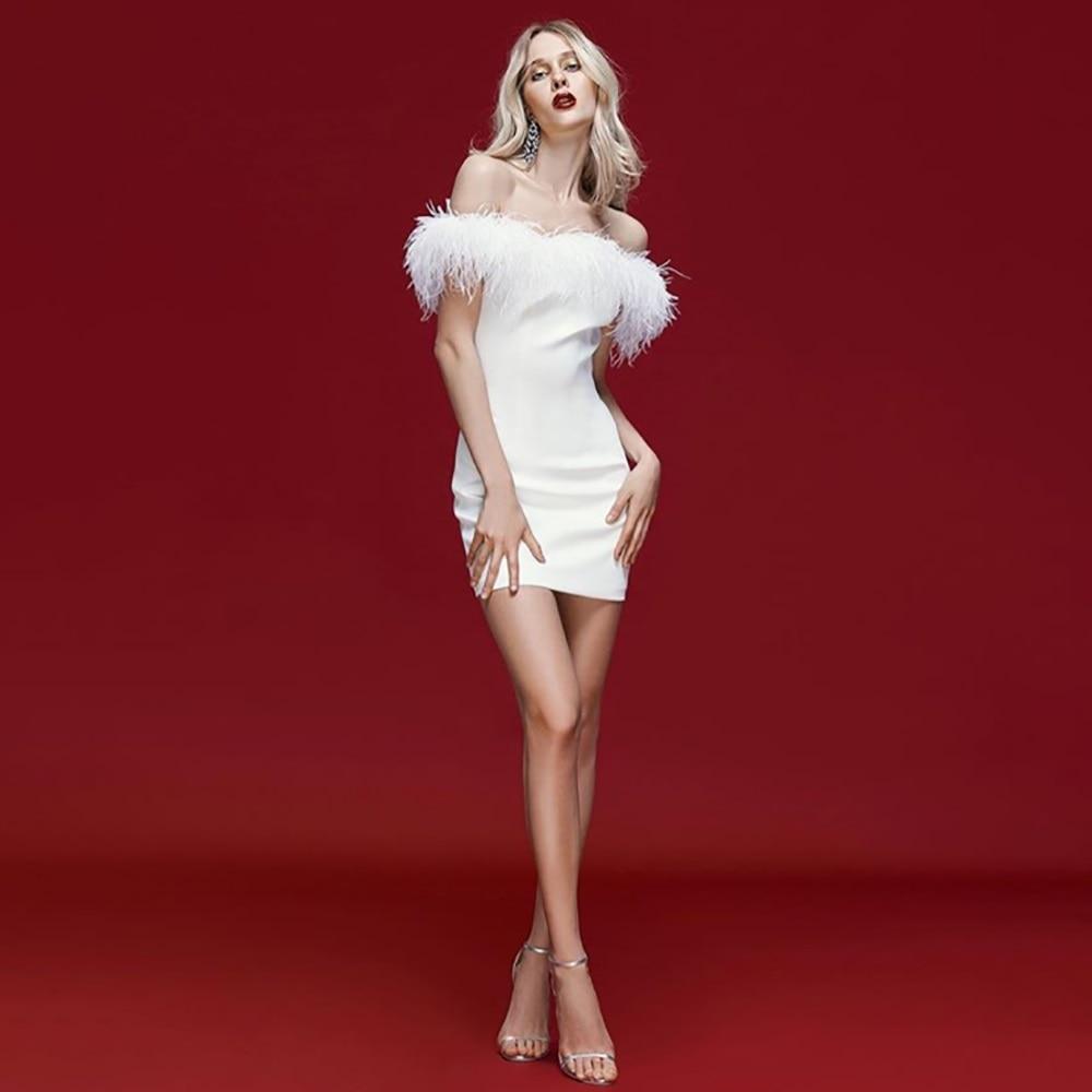 White Black Slash Neck Bandage Dress Top Quality Rayon Sexy Women Feathers Fur Patch Party Dress